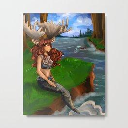 Moose Mermaid Metal Print
