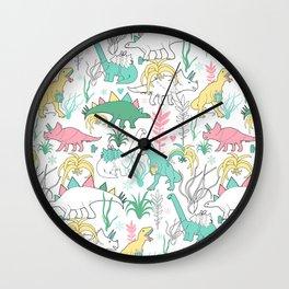 Christmas dinosaurs. Wall Clock