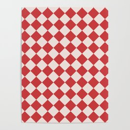 Red and White Checkered Diamond Pattern Poster