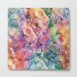 Bright Cheerful Mulitcolor Floral Abstract Metal Print