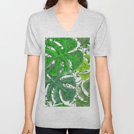 PALM LEAF B0UNTY GREEN AND WHITE Unisex V-Neck