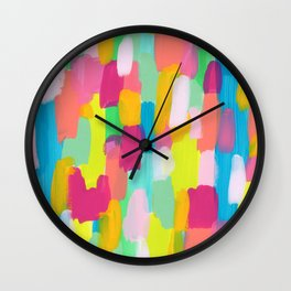 Meet Me In The Rainbow Woods - colorful abstract painting pattern Wall Clock