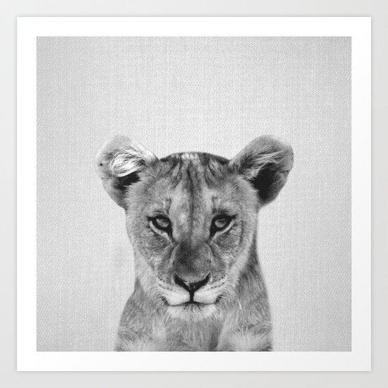Baby Lion - Black & White Art Print