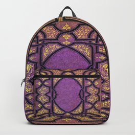 Purple and Gold Vines Book Backpack