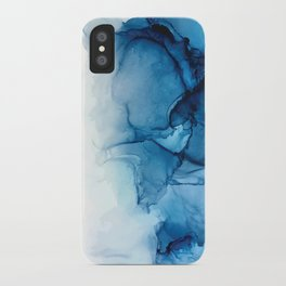 Blue Tides - Alcohol Ink Painting iPhone Case
