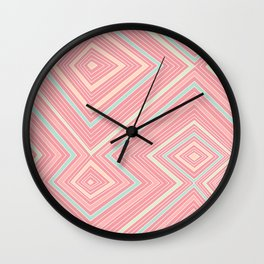 Pink, Green, Yellow, and Peach Lines - Illusion Wall Clock