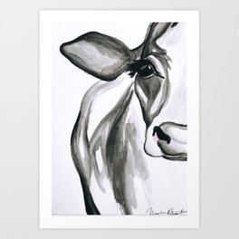 Belle / Farmhouse Watercolor Holstein Cow Art Print