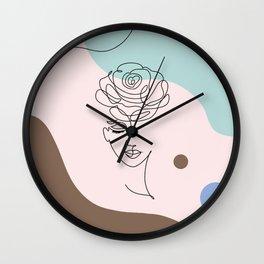 Floral Wall Art, Boho Printable Line Art, Crazy Plant Lady, Woman With Flowers, Bohemian Decor Wall Clock