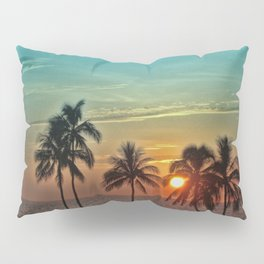 Sunset at Mauna Kea Beach, Hawaii Teal Pillow Sham