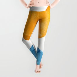 Yellow Sun Blue Wave Minimalist Mid Century Modern Watercolor Abstract Shapes by Ejaaz Haniff Leggings