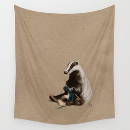 Badger Knitting a Scarf Wall Tapestry