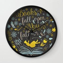 Books Fall Open, You Fall In Wall Clock