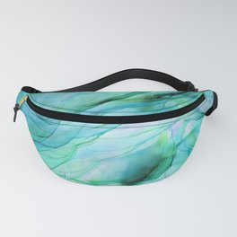 Sea Green Flowing Waves Abstract Ink Painting Fanny Pack