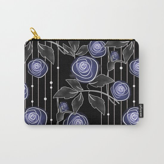 Blue roses on black background Carry-All Pouch