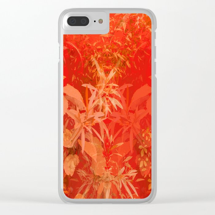Beautiful red foliages - illustration of garden Clear iPhone Case