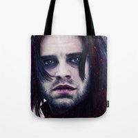 """bucky barnes Tote Bags featuring Bucky Barnes """"The Winter Soldier"""" Portrait by thecannibalfactory"""