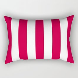 Vivid crimson fuchsia - solid color - white vertical lines pattern Rectangular Pillow