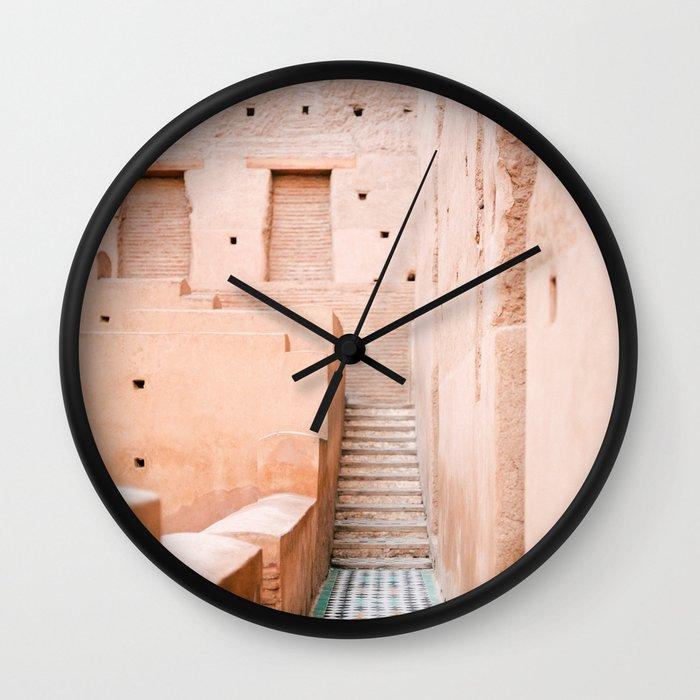 Colors of Marrakech Morocco - El badi palace photo print   Pastel travel photography art Wall Clock