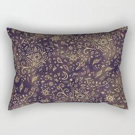 Modern hand drawn doodles esoteric stars flowers gold on purple batik watercolor Rectangular Pillow