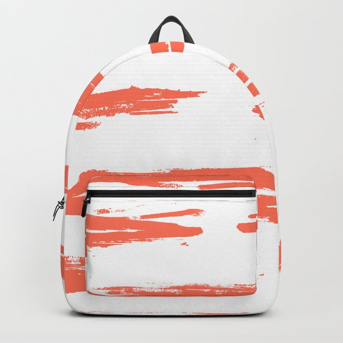 Brushed Stripe Deep Coral on White Backpack