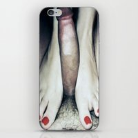 penis iPhone & iPod Skins featuring funny painting BDSM foot fetish toes job sex fuck feet footjob kinky dick cock penis dominatrix  by Velveteen Rodent