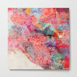 Anaheim map California painting square 2 Metal Print