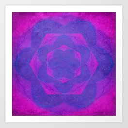 Hot pink and purple kaleidoscope with texture Art Print