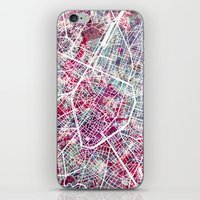 brussels iPhone & iPod Skins featuring Brussels Map by MapMapMaps.Watercolors