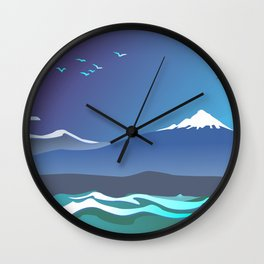 Mont Taranaki From The Sea Wall Clock