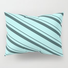 Dark Slate Gray & Turquoise Colored Striped/Lined Pattern Pillow Sham