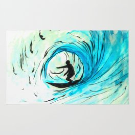 Lone Surfer Tubing the Big Blue Wave Rug