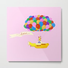 Happy Fly with Yellow Submarine Metal Print