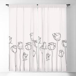 Rose border illustration Blackout Curtain