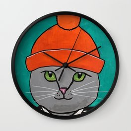 Striped-T-shirt Cat Portrait Original Acrylic on Canvas Painting Wall Clock