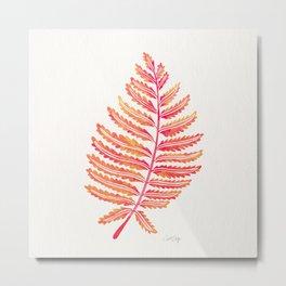 Fern Leaf – Peachy Pink Palette Metal Print