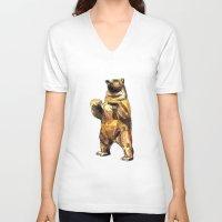 central park V-neck T-shirts featuring Central Park Bear by Piljam
