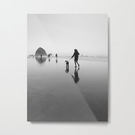 beach goers - canon beach, OR Metal Print