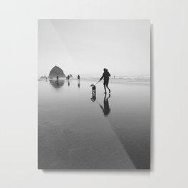 beach goers - canon beach, OR Metal Print