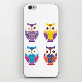 bright colorful owls on white background iPhone Skin