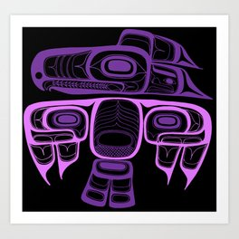 Tlingit thunderbird purple Art Print