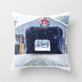 Vermont Covered Bridge Sugabush Throw Pillow