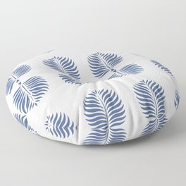 TROPICAL PALMS . WHITE + BLUE Floor Pillow