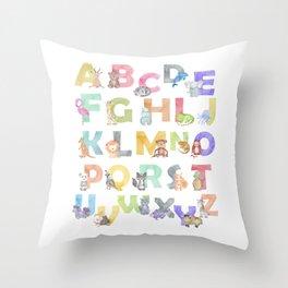 Watercolor Alphabet Animals Throw Pillow