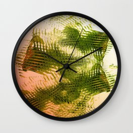 Mark Making with Olive Greens on Tangerine Wall Clock