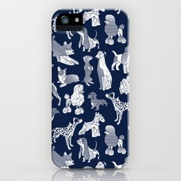 Geometric sweet wet noses // navy blue background white dogs iPhone Case