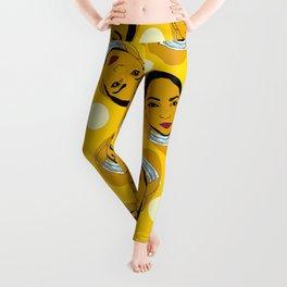 Yellow Ms. Adu Pattern Lover's Rock Leggings