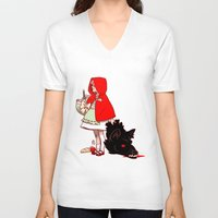 red hood V-neck T-shirts featuring Little Red Hood by Madeoftin