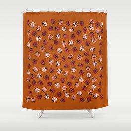 All over Modern Ladybug on burnt orange Background Shower Curtain