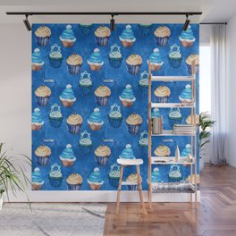 Bubbie's Yummy Hanukkah Sweet Treats and Goodies Pattern Wall Mural