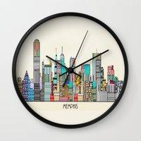 memphis Wall Clocks featuring Memphis city by bri.buckley